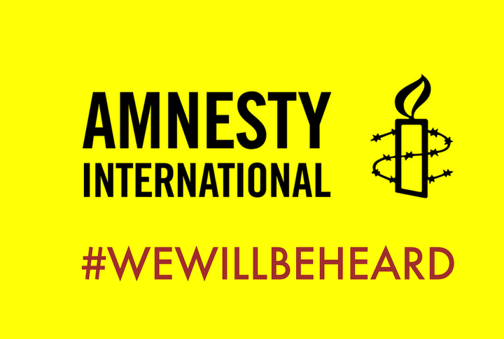 Logo of Amnesty International with the 'We Will Be Heard' hashtag used in response to Amnesty Ireland's call for the disenfranchisement of women