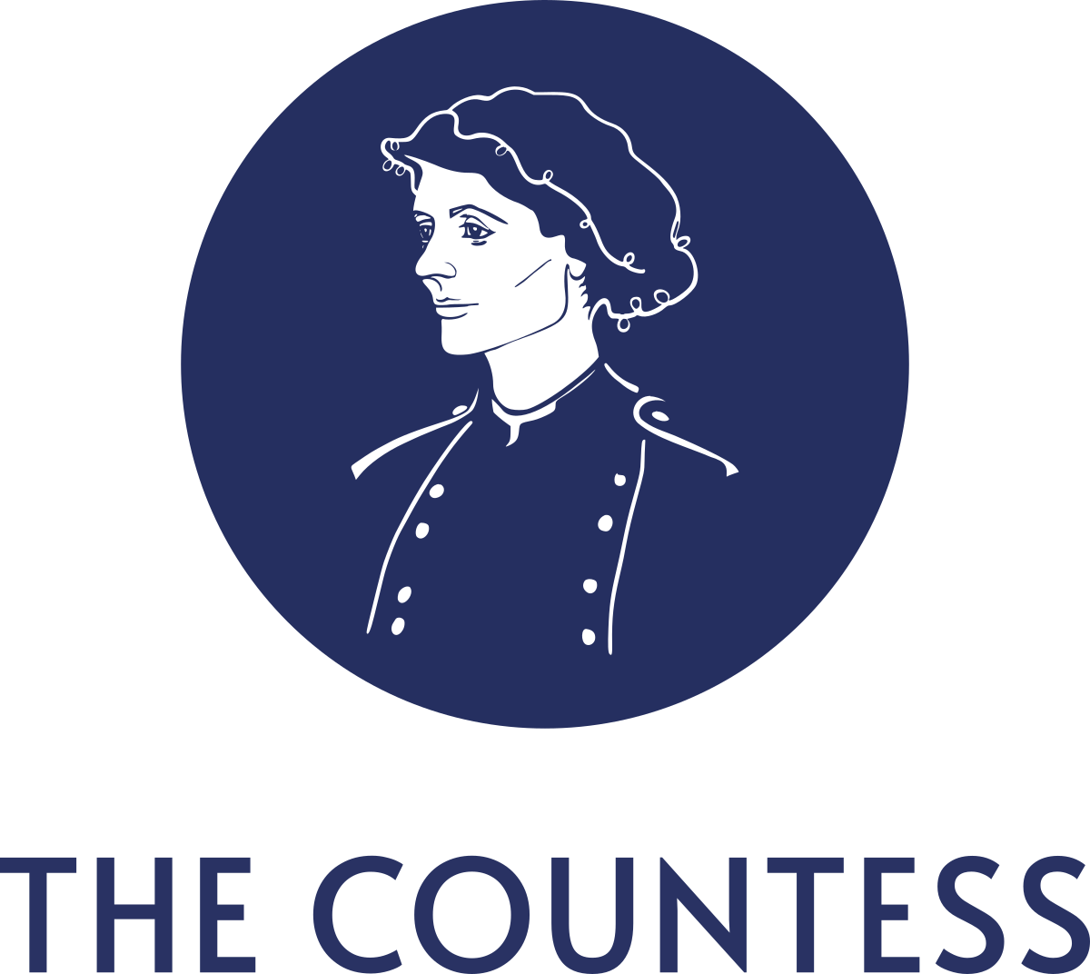 Logo comprising a line drawing of Countess Markiewicz in white against a blue circle, with 'The Countess' below