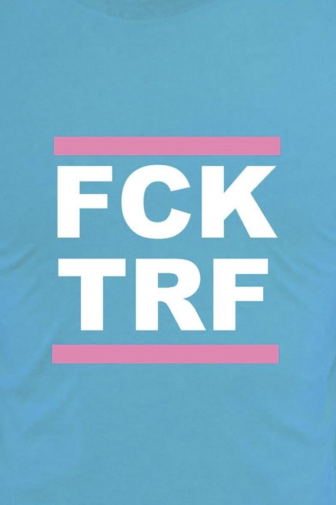 FCK TRF (Fuck Terf) T-shirt  worn by a female member of the Podemos coalition party to the Andalusian Parliament